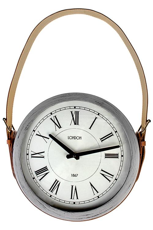 Часы настенные ЛондонИнтерьер<br>Д=30см, металл, стекло, искусств. кожа<br>