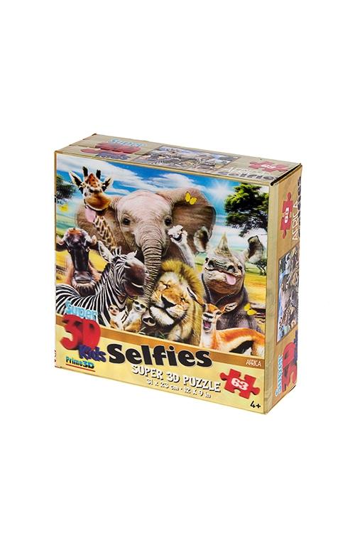 Пазл с 3D стерео картинкой Африка селфиРазвлечения и вечеринки<br>67 элементов, 15*15*6см, картон, полипропилен<br>