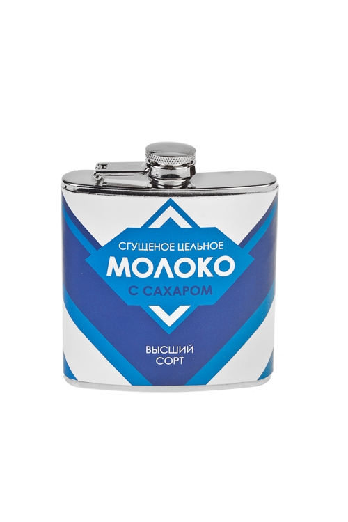 Фляжка для напитков Сгущенное молокоДача и Путешествия<br>180мл, 9*11см, нерж. сталь, искусств. кожа<br>