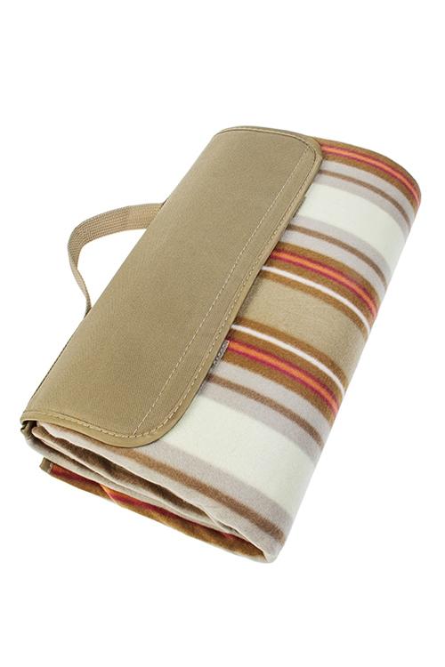 Плед для пикника ПолоскиПляжные коврики<br>150*135см, полиэстер, беж.-красный, на непромок. подложке<br>