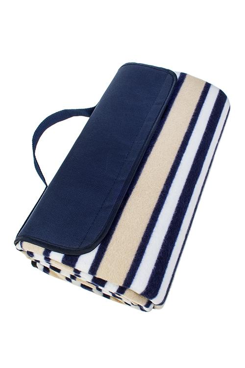 Плед для пикника ПолоскиПляжные коврики<br>150*135см, полиэстер, сине-беж., на непромок. подложке<br>