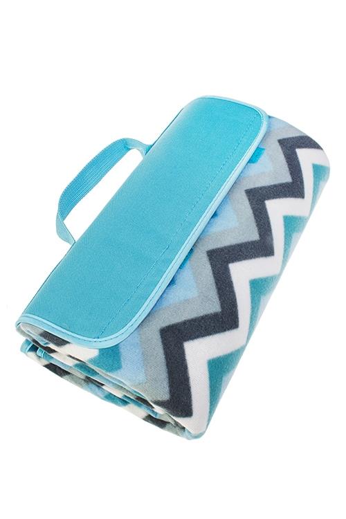 Плед для пикника ЗигзагиПляжные коврики<br>150*135см, полиэстер, голубой, на непромок. подложке<br>