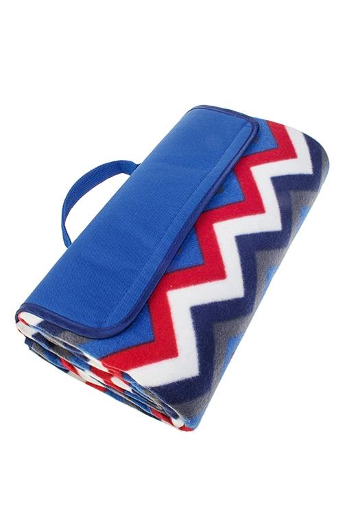 Плед для пикника ЗигзагиДача и Путешествия<br>150*135см, полиэстер, сине-красный, на непромок. подложке<br>