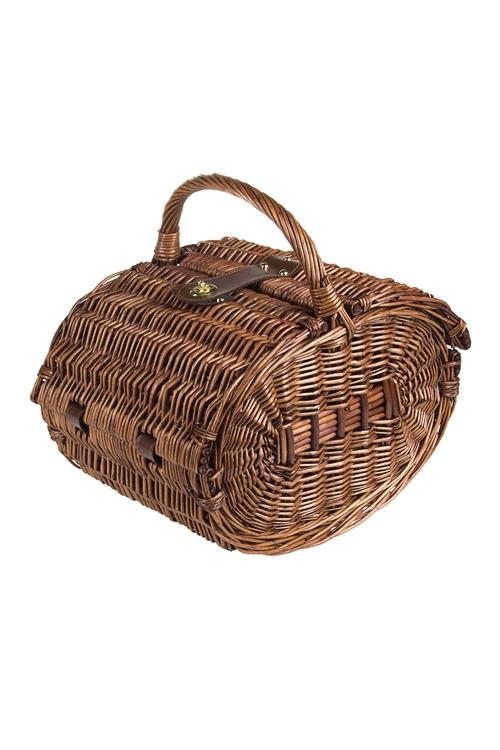 """Набор-сундук для пикника """"Набор-сундук для пикника, 2 перс., плетен. темно-коричн., с ручкой (посуда, приборы, штопор)"""" от Красный куб"""