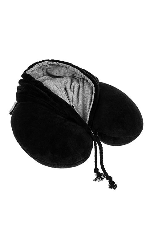 Подушка-подголовник с эффектом памяти и капюшоном МимимишкаДача и Путешествия<br>30*26*9см, ПЭ, полиуретан, черно-сер<br>