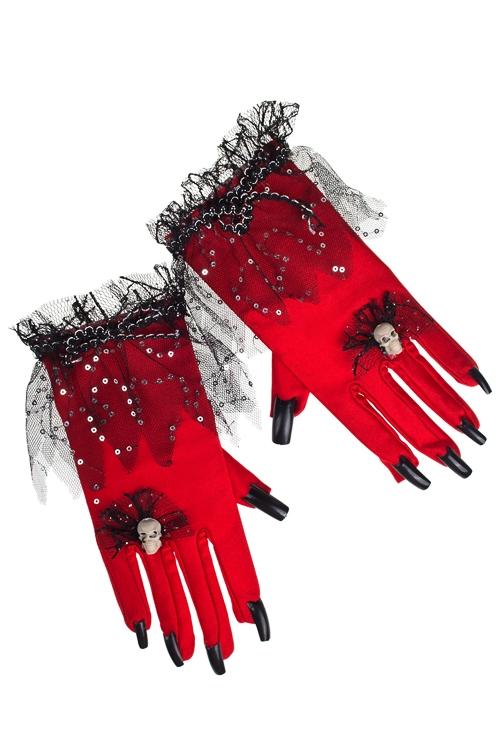 Перчатки маскарадные для взрослых Багровые рекиМаскарадные костюмы<br>Текстиль, пласт., красные<br>