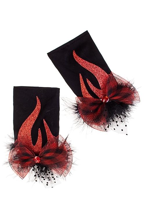 Перчатки маскарадные для взрослых ПламяПодарки на Хэллоуин<br>Текстиль, пласт., черно-красные<br>