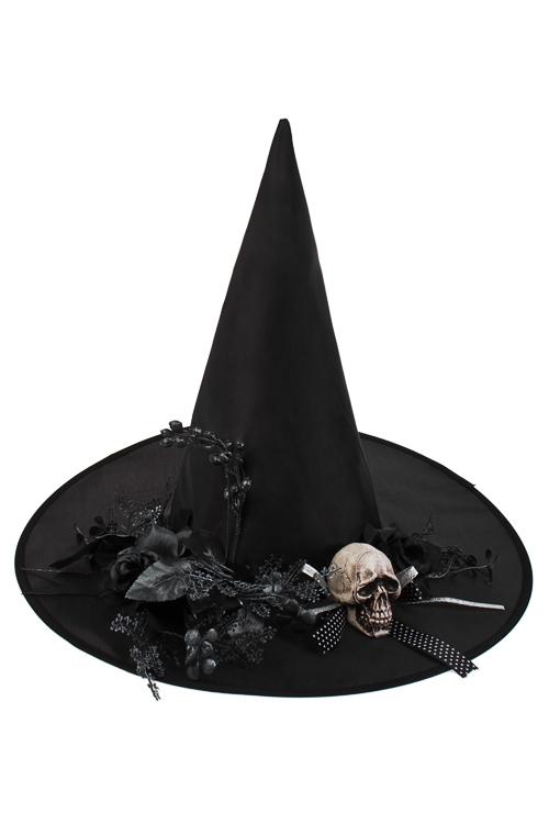 Шляпа маскарадная для взрослых Кокетливая ведьмаРазвлечения и вечеринки<br>Текстиль, пластм., металл, черная<br>