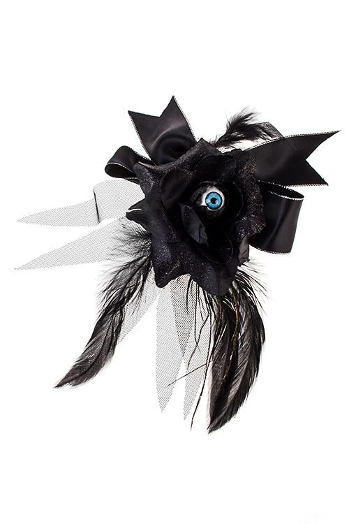 Заколка для волос маскарадная для взрослых ГлазПодарки на Хэллоуин<br>Текстиль, пластм., черная<br>