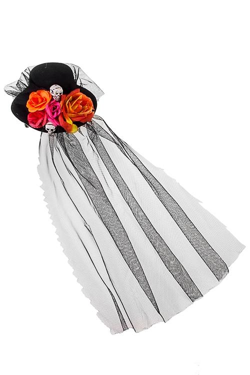 Шляпа маскарадная для взрослых Праздник мертвецовПодарки на Хэллоуин<br>Текстиль, пластм., черно-оранж., с вуалью<br>