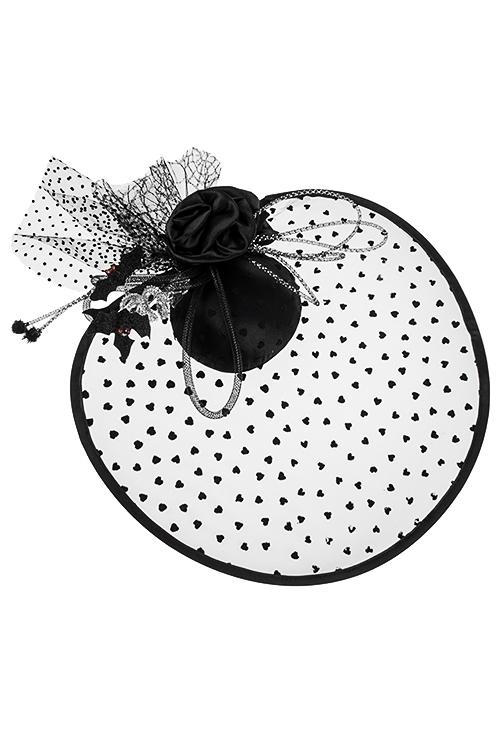 Шляпа маскарадная для взрослых Загадочная колдуньяПодарки на Хэллоуин<br>Шляпа маскарадная для взрослых с вуалью, текстиль, металл, на зажимах<br>