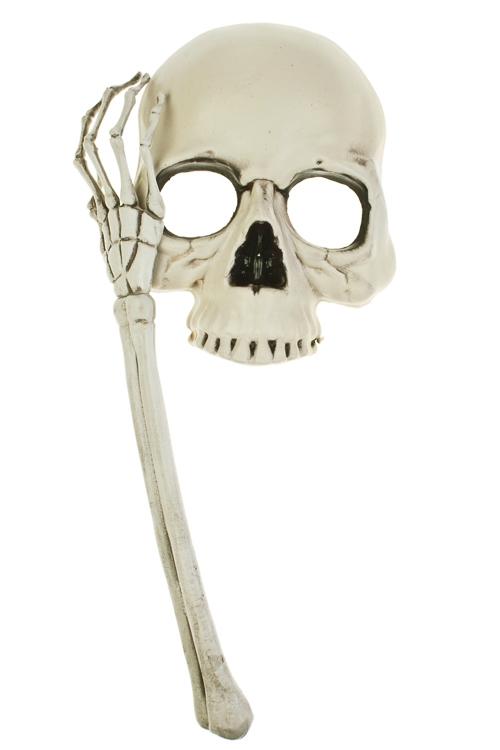 Маска маскарадная для взрослых Череп с рукойМаски<br>пластм.<br>