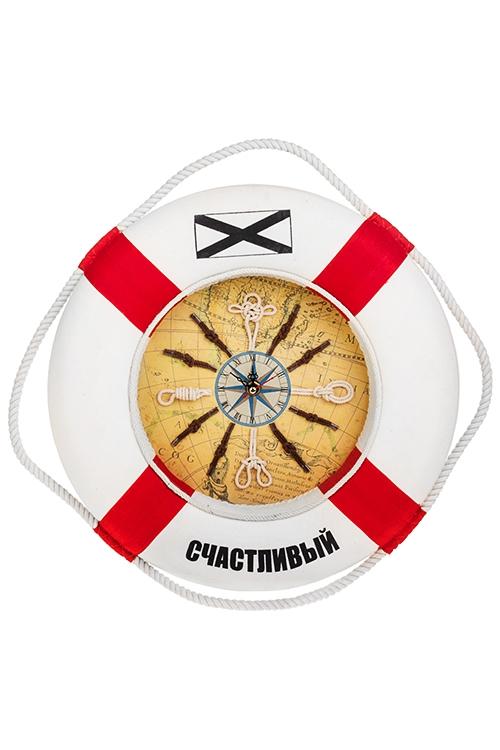 Часы настенные Счастливый кругИнтерьер<br>Д=35см, пенопласт, текстиль, бело-красные<br>