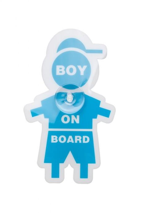 Знак автомобильный Мальчик в машинеДача и Путешествия<br>Пластм., силикон, на присоске<br>