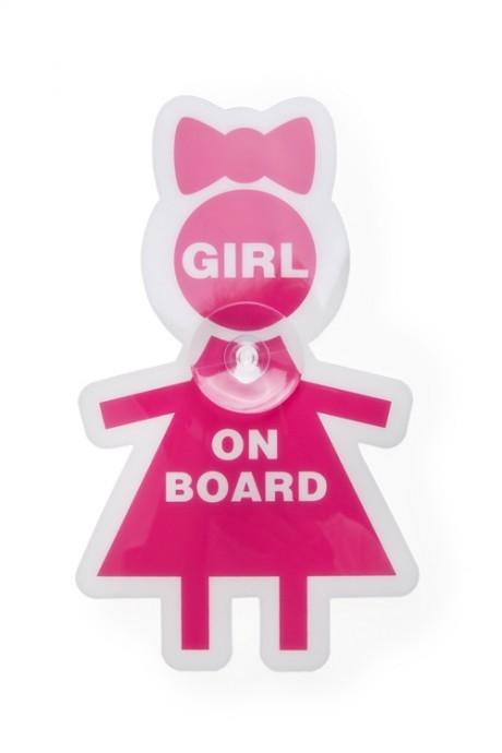 Знак автомобильный Девочка в машинеДача и Путешествия<br>Пластм., силикон, на присоске<br>
