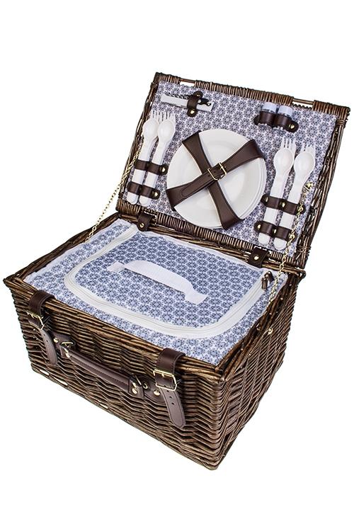 Набор-сундук для пикника СундукНаборы для пикника и ланч-боксы<br>Набор для пикника в плетеной корзине на 4 персоны. Цвет: коричневый  (вилки - 4шт, ложки - 4шт, ножи - 4шт, тарелки - 4шт, бокалы - 4шт, открывалка универсальная, набор для специй, холодильник)<br>