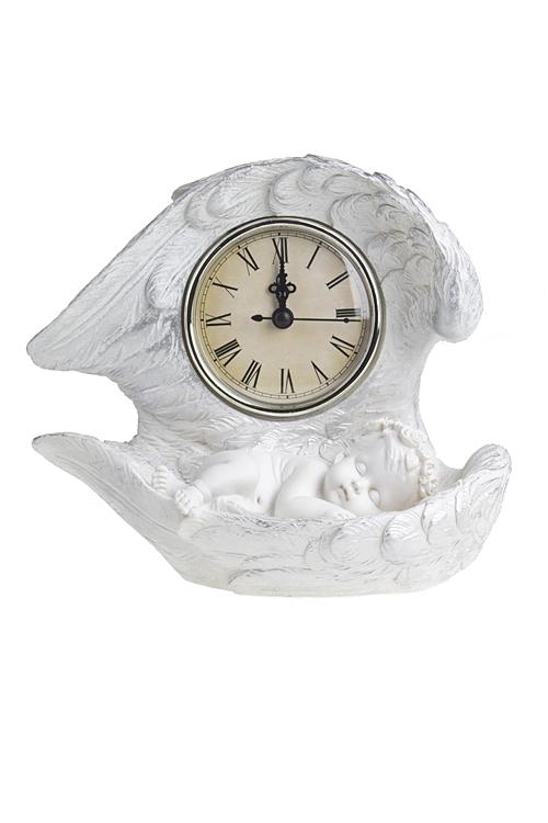 Часы настольные Власть времениИнтерьер<br>Выс=18см, полирезин, пластм., бело-серебр.<br>