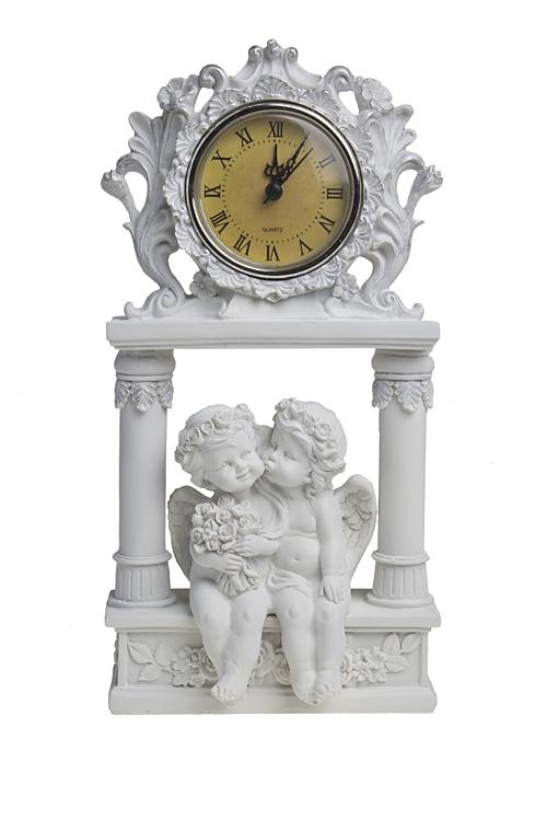 Часы настольные Ангельские мгновеньяЧасы Настольные<br>Выс=25см, полирезин, пластм., белые<br>