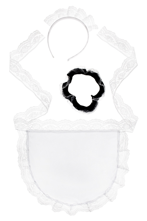 Набор маскарадный для взрослых ГорничнаяМаскарадные костюмы<br>Текстиль (фартук, подвязка, головной убор)<br>