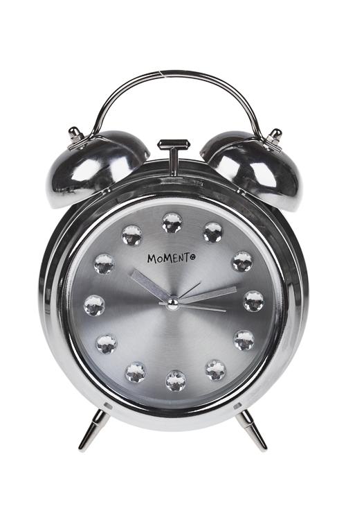 Часы настольные СтальИнтерьер<br>15*6.8*20см, металл, стекло, с будильником<br>
