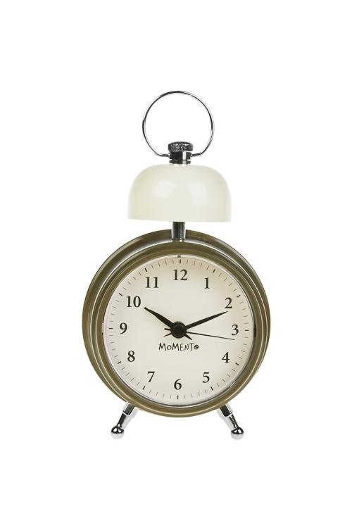 Часы настольные КолоколЧасы Будильник<br>9.8*6.6*14.5см, пластм., металл, беж.-зелен., с будильником, с подсвет.<br>