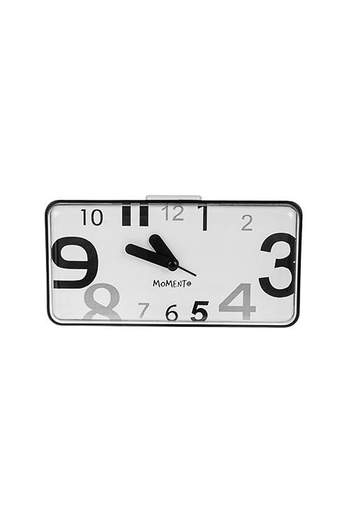Часы настольные МинимализмЧасы Настольные<br>17.0*5.7*8.8см, пластм., бело-черные, с будильником, с держателем<br>