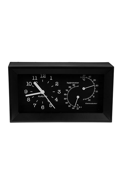 Часы настольные Хай-текИнтерьер<br>20*5*11см, пластм., стекло, с терм. и гидрометр., черные, с будильником<br>