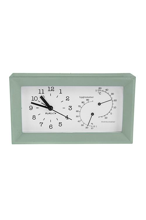 Часы настольные ПастельИнтерьер<br>20*5*11см, пластм., стекло, с терм. и гидрометр., мятные, с будильником<br>