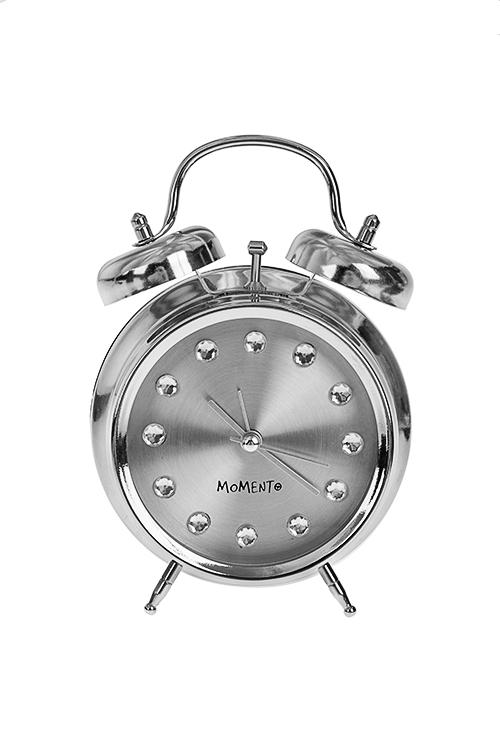Часы настольные СтальИнтерьер<br>11.8*5.7*15см, металл, стекло, с будильником<br>