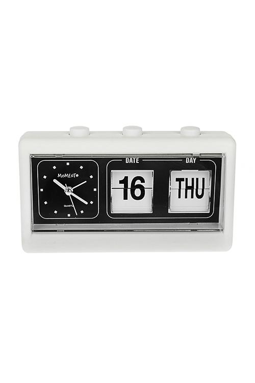 Часы настольные МонохромИнтерьер<br>19*6.4*11.5см, пластм., бело-черные, с будильником и календарем<br>