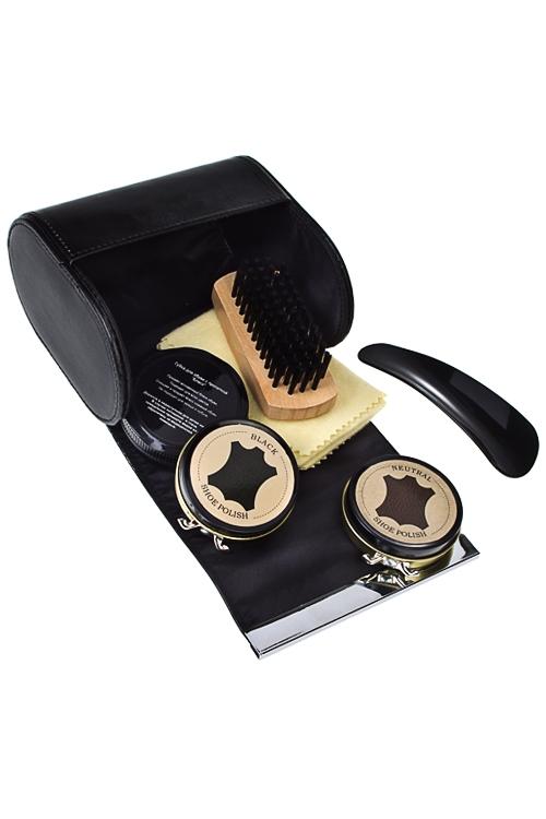 Набор для ухода за обувьюШкатулки и наборы по уходу<br>6-предм., 12*12см, в форме сумочки, текстиль, кож.-зам., черный<br>