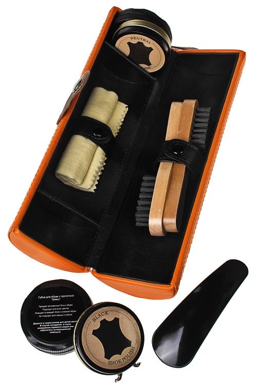 Набор для ухода за обувью ХаризмаШкатулки и наборы по уходу<br>24*7см, в форме цилиндра, искусств. кожа, оранж.<br>