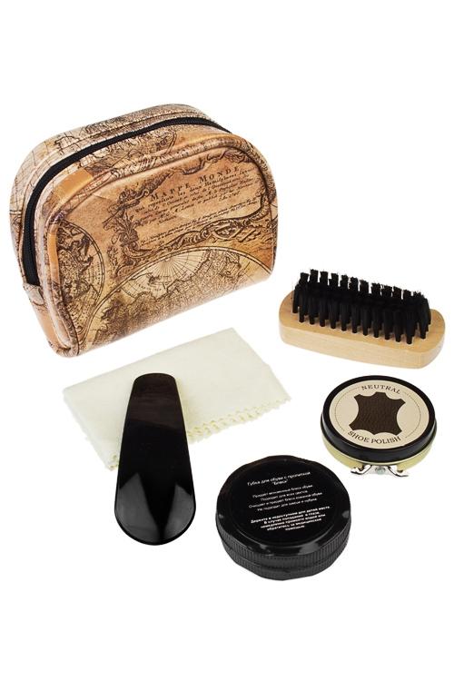 Набор для ухода за обувью КартаШкатулки и наборы по уходу<br>5-предм., 12*10см, в форме сумочки, искусств. кожа, коричн.<br>