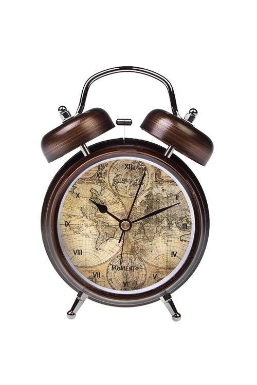 Часы настольные Карта мираЧасы Будильник<br>13*18см, металл, с будильником<br>