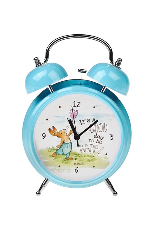 Часы настольные Счастливый зайчикЧасы Будильник<br>15*21см, металл, с будильником, с подсветкой<br>