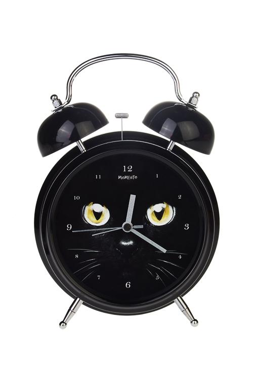 Часы настольные Черный котИнтерьер<br>15*21см, металл, с будильником, с подсветкой<br>