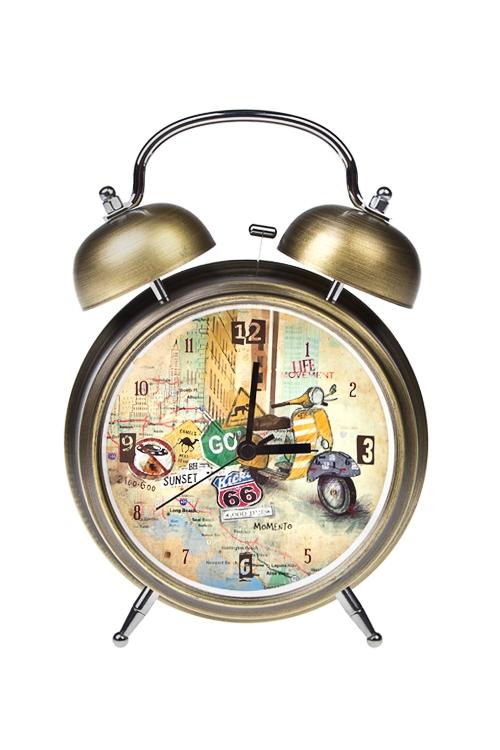 Часы настольные МопедЧасы Будильник<br>15*21см, металл, с будильником, с подсветкой<br>
