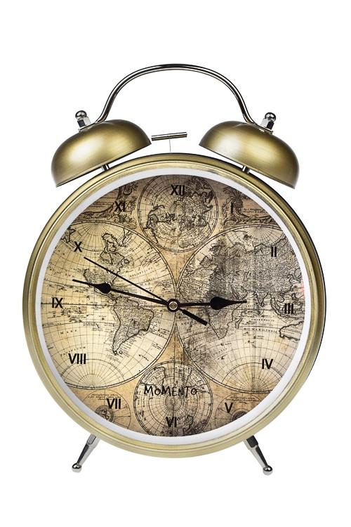 Часы настольные Карта мираИнтерьер<br>25.5*31см, металл, с будильником<br>