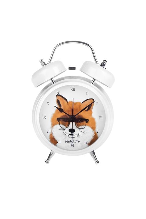 Часы настольные Интеллигентный лисИнтерьер<br>13*18см, металл, с будильником<br>