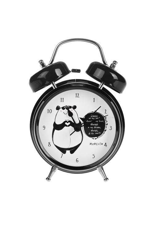 Часы настольные Влюбленная пандаЧасы Будильник<br>13*18см, металл, с будильником<br>