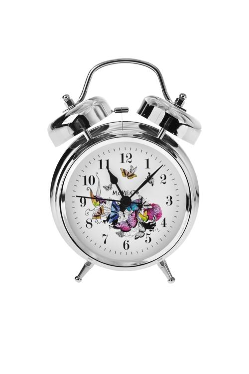 Часы настольные Парящие бабочкиИнтерьер<br>13*18см, металл, с будильником<br>