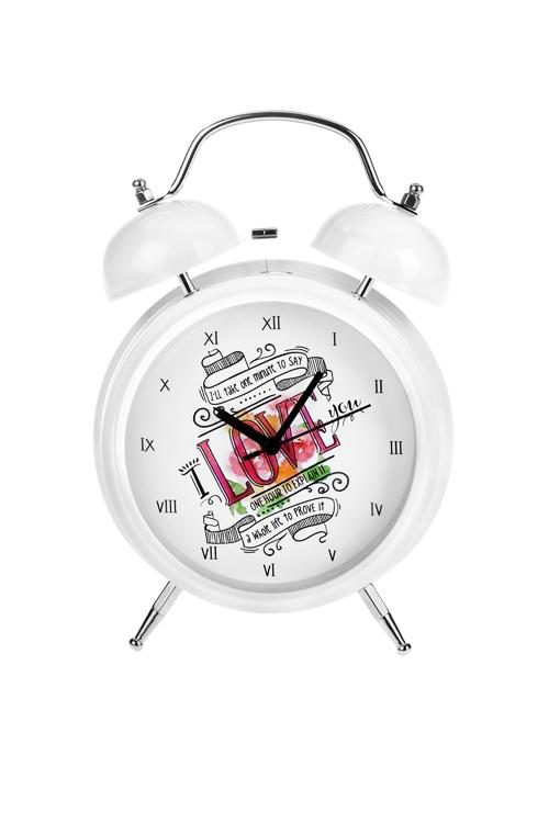 Часы настольные Доказательство любвиИнтерьер<br>15*21см, металл, с будильником, с подсветкой<br>