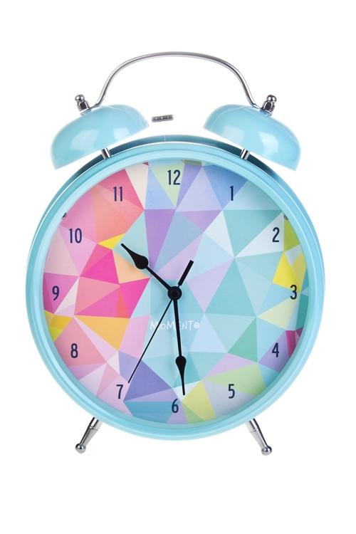 Часы настольные КалейдоскопИнтерьер<br>25.5*31см, металл, с будильником, с подсветкой<br>
