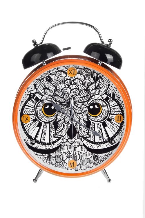 Часы настольные ФилинИнтерьер<br>25.5*31см, металл, с будильником, с подсветкой<br>