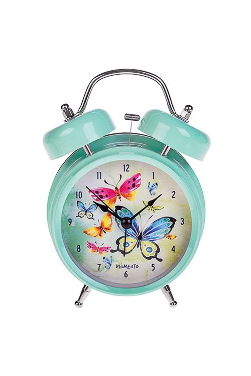 Часы настольные Акварельные бабочкиИнтерьер<br>13*18см, металл, с будильником, с подсветкой<br>