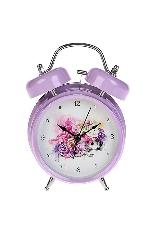 Часы настольные Ежик в цветахИнтерьер<br>13*18см, металл, с будильником, с подсветкой<br>