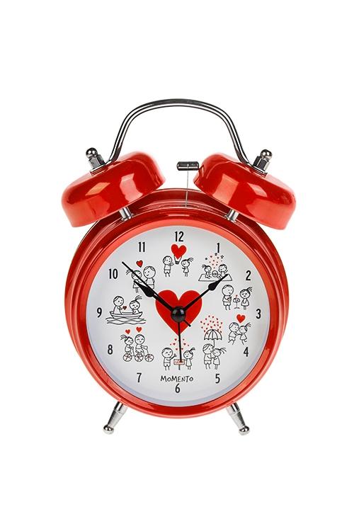 Часы настольные Комикс о любвиИнтерьер<br>13*18см, металл, с будильником, с подсветкой<br>