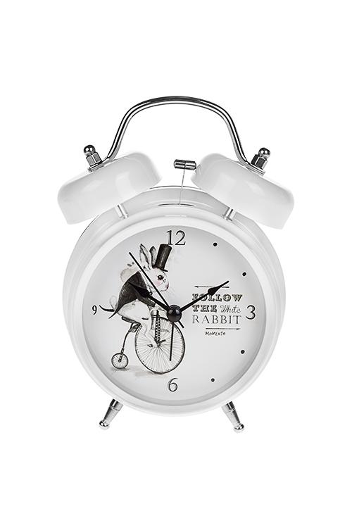 Часы настольные Следуй за белым кроликомИнтерьер<br>13*18см, металл, с будильником, с подсветкой<br>