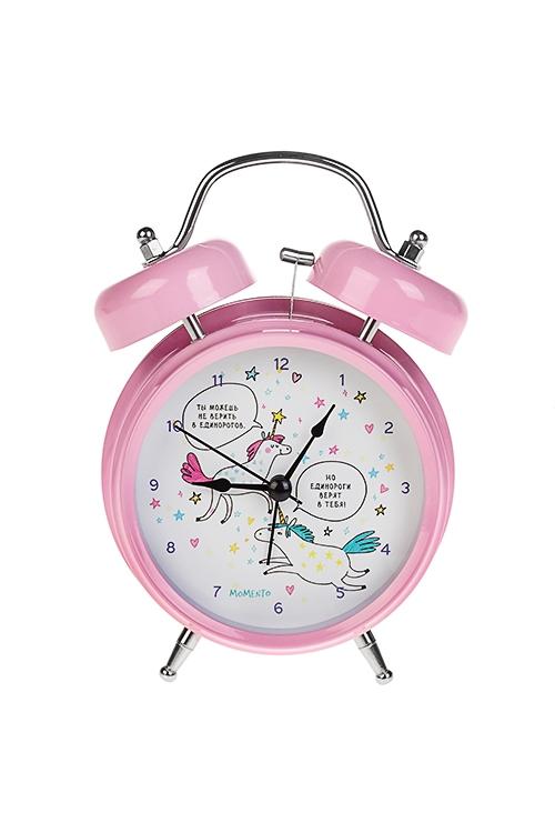 Часы настольные ЕдинорогиИнтерьер<br>13*18см, металл, с будильником, с подсветкой<br>