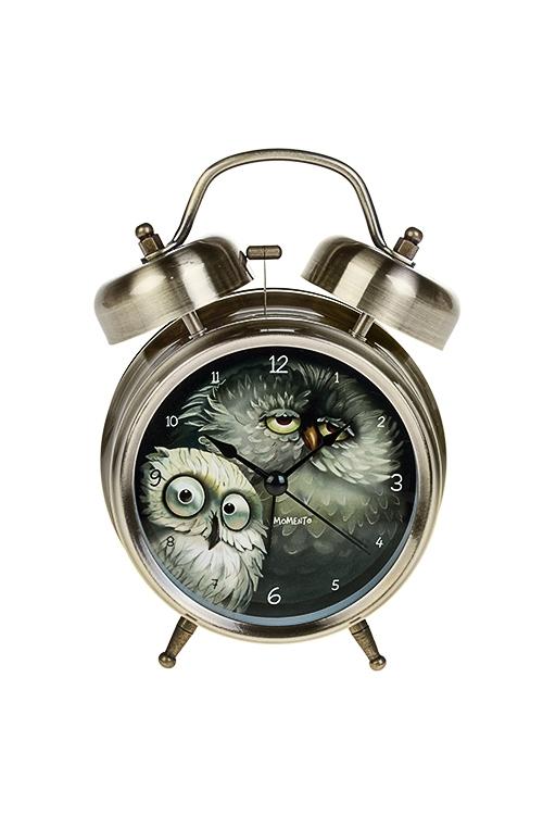 Часы настольные Сонные совушкиИнтерьер<br>13*18см, металл, с будильником, с подсветкой<br>